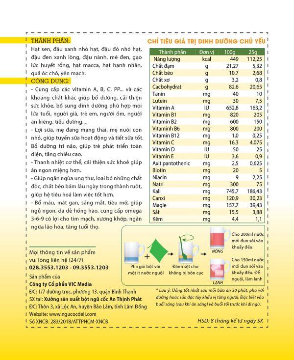 Bột ngũ cốc dinh dưỡng cao cấp DeliBeans (Hộp 800g) 2 - Deli Beans
