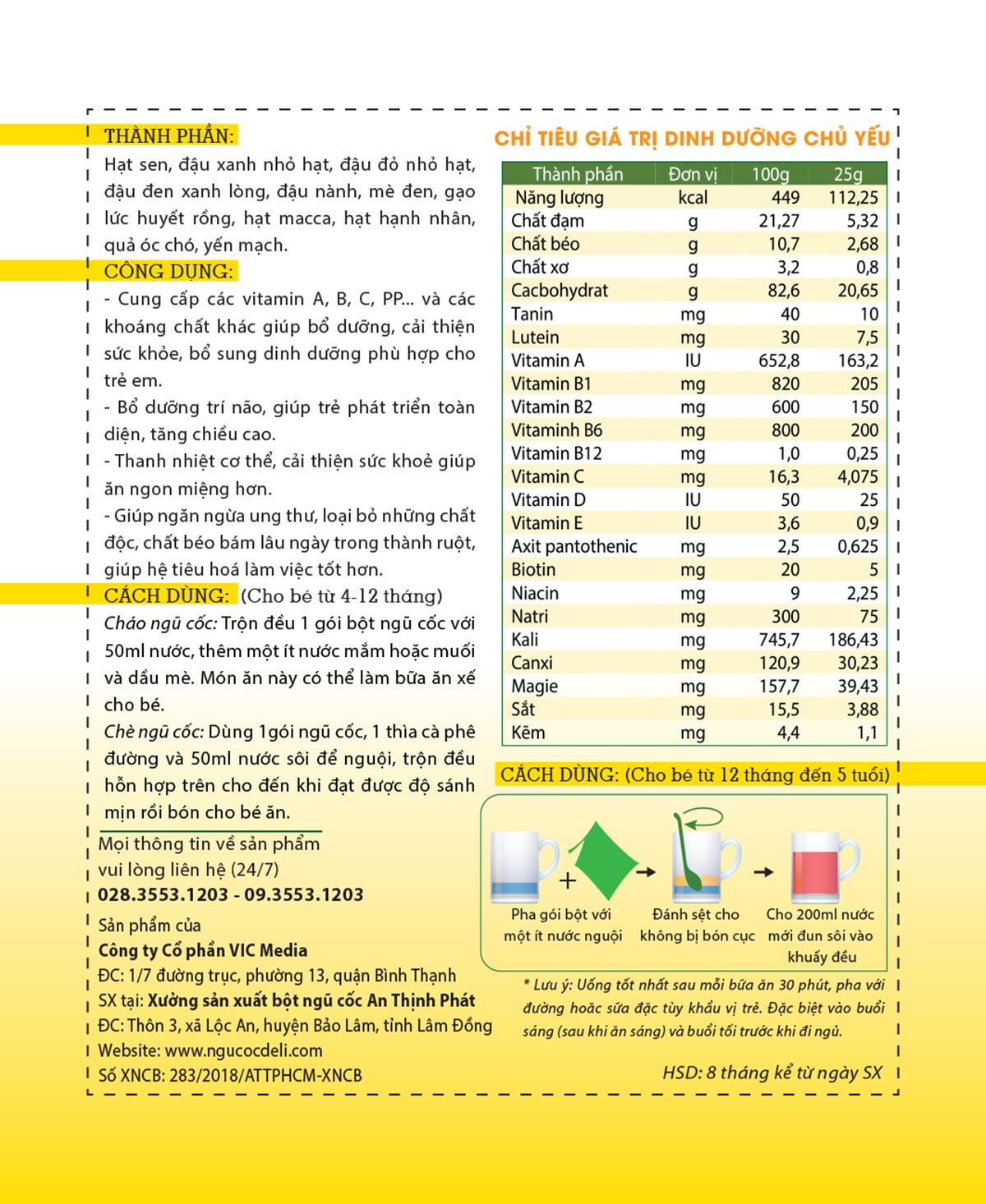 Bột ngũ cốc dinh dưỡng trẻ em (4 tháng - 5 tuổi) - Hộp 20 gói 12 - Deli Beans