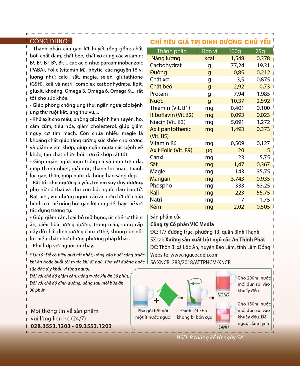 Bột ngũ cốc gạo lứt huyết rồng DeliBeans (Hộp 800g) 14 - Deli Beans