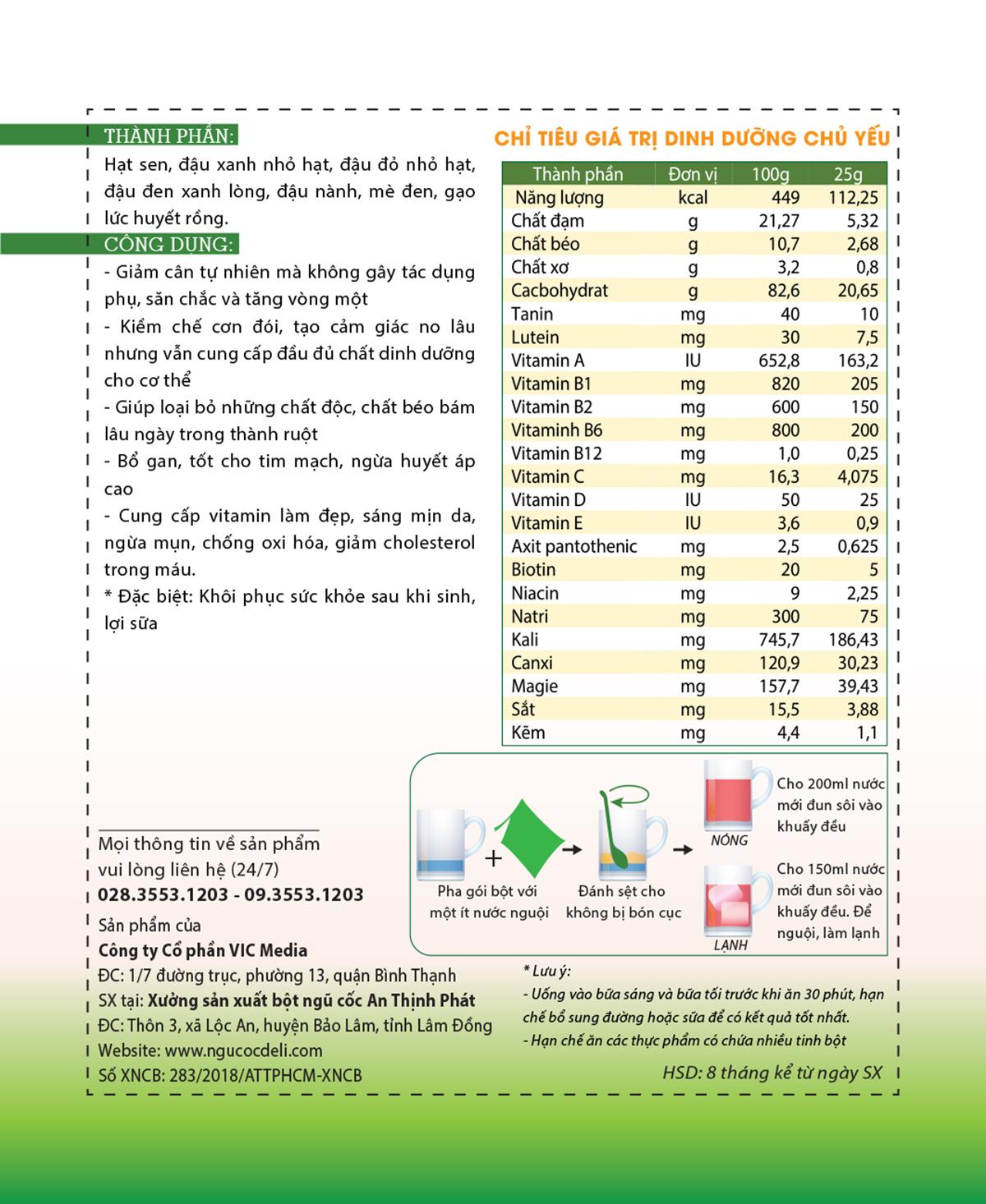 Bột ngũ cốc hỗ trợ giảm cân DeliBeans (Hộp 800g) 13 - Deli Beans
