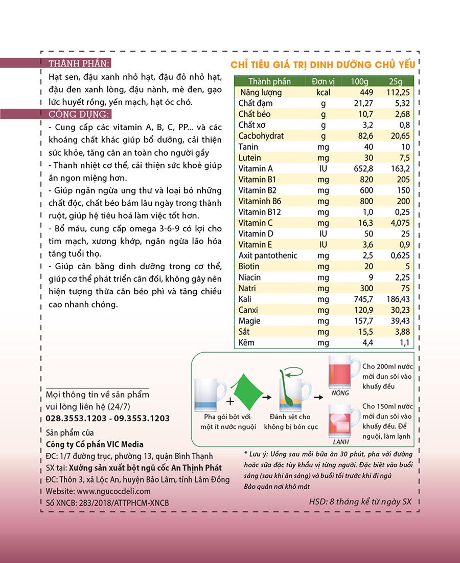 Bột ngũ cốc hỗ trợ tăng cân DeliBeans (Hộp 800g) 13 - Deli Beans